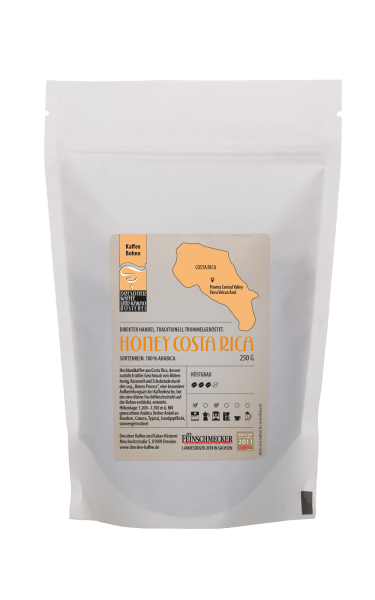 Dresdner Kaffee und Kakao Roesterei Ganze Bohne Honey Costa Rica 250g