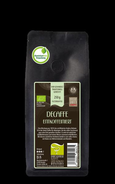 Dresdner Kaffee und Kakao Roesterei Decaffe Filterkaffee 250g